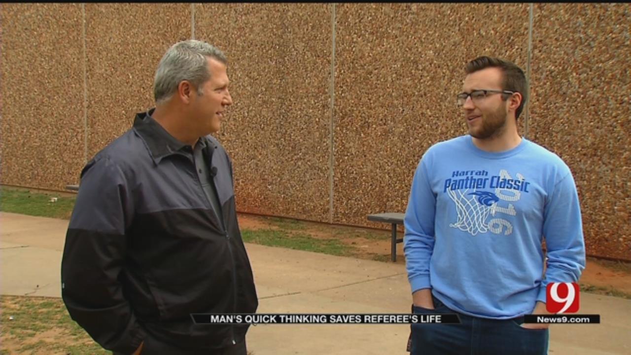 Harrah Athletic Trainer Hailed Hero After Saving Ref.