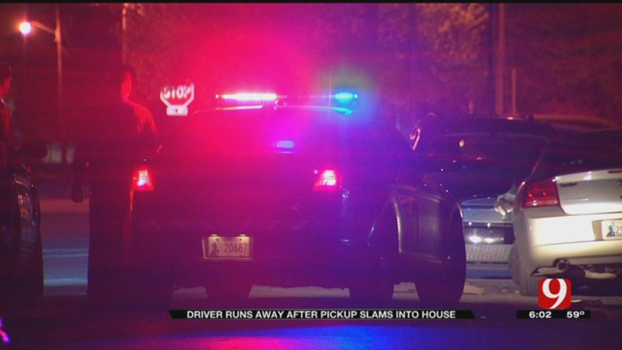 Driver Runs Off After Slamming Truck Into Car, Home in NW OKC