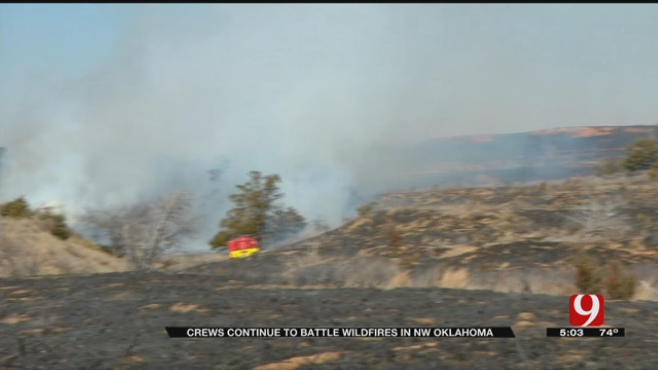 Fire Departments From Across The State Battle Wildfires Raging In NW OK