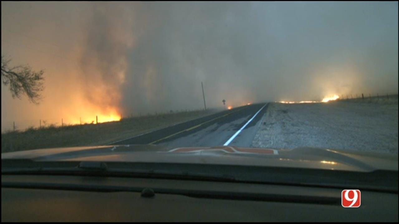 WEB EXTRA: StormTracker Marty Logan Follows Wildfires In NW OK