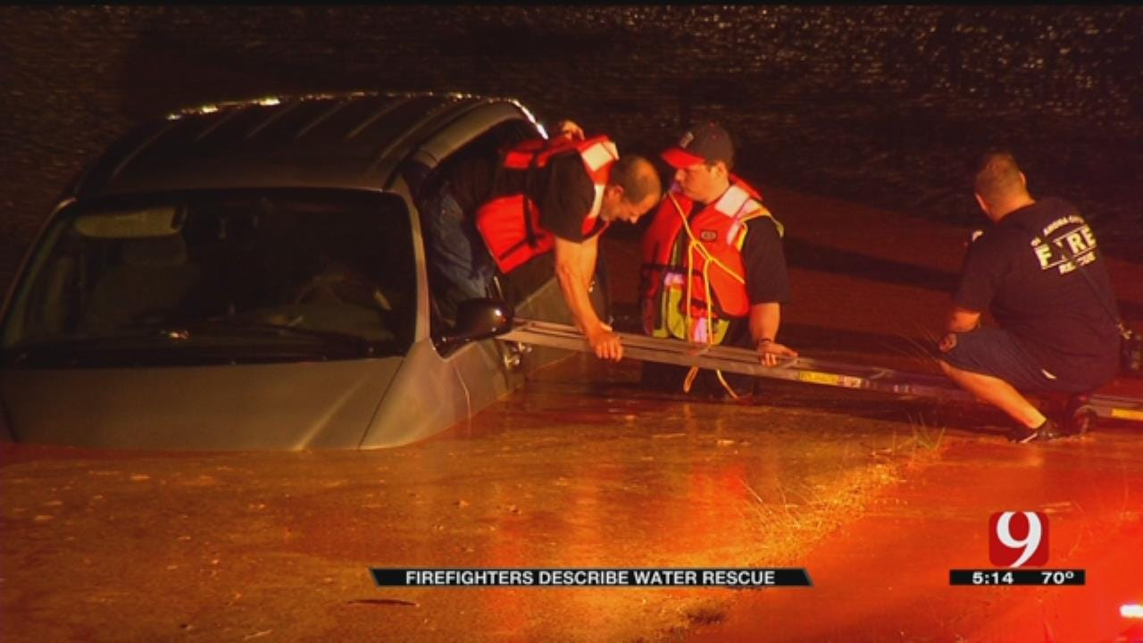 OKC Firefighters Talk About Rescuing Man From Flooded Car