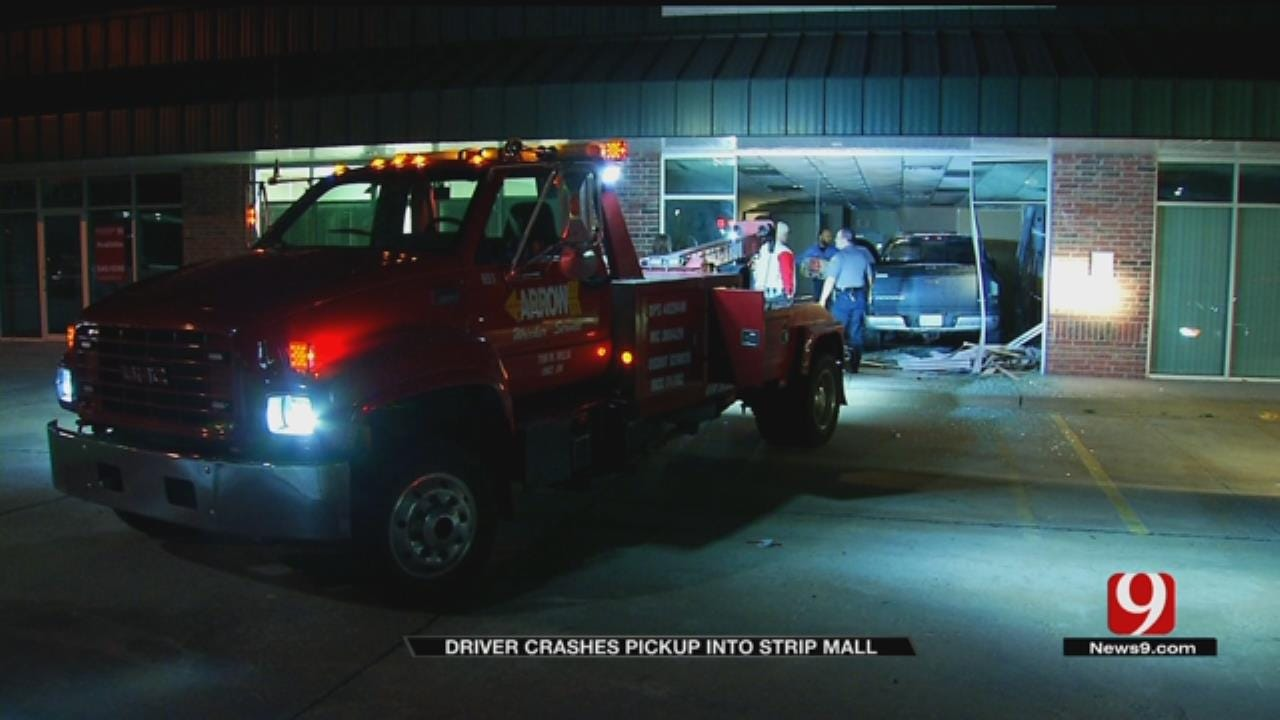 Driver Crashes Pickup Into Strip Mall In NW OKC