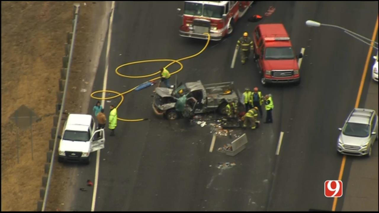 WEB EXTRA: SkyNews 9 Flies Over Injury Crash On SB I-35 In Moore
