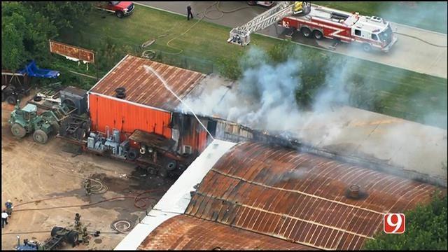 WEB EXTRA: Bob Mills SkyNews 9 Flies Over Commercial Fire Near Downtown OKC