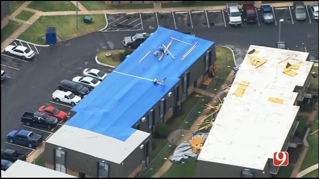 WEB EXTRA: Bob Mills SkyNews 9 Flies Over Storm Damage At OKC Apartments