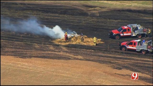 WEB EXTRA: SkyNews 9 Flies Over Grass Fire West Of Mustang
