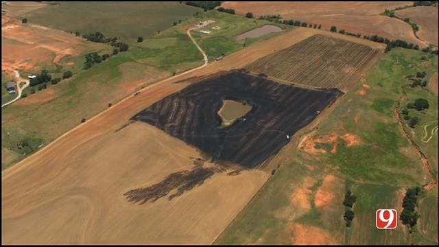 WEB EXTRA: Bob Mills SkyNews 9 Flies Over Grass Fire In Union City