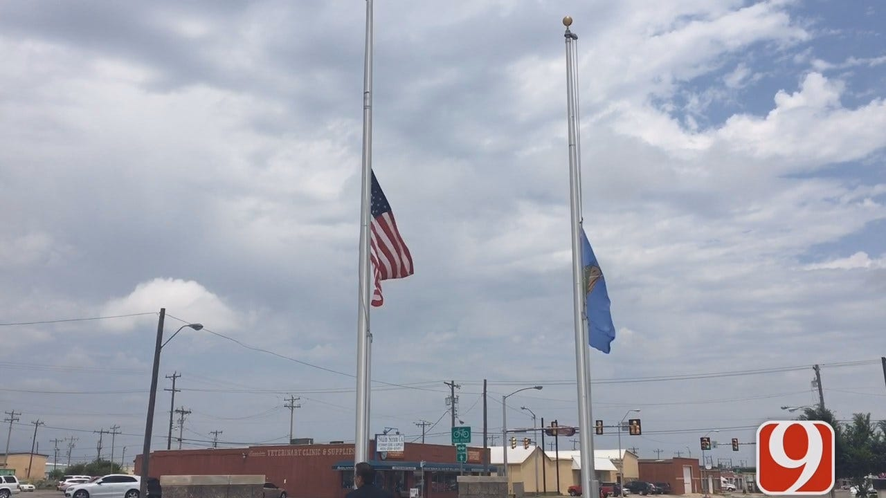 WEB EXTRA: Flags Flying At Half Staff At OKC FOP Headquarters