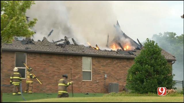 WEB EXTRA: Crews Battle House Fire In Edmond
