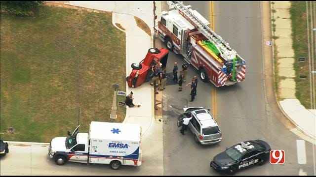 WEB EXTRA: SkyNews 9 Flies Over Rollover Crash In NW OKC