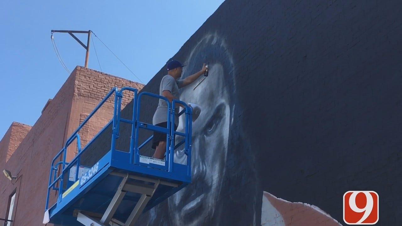 Artist Paints Steven Adams Mural In Downtown OKC