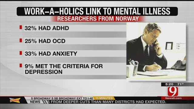 Study Links Working Long Hours To Mental Illness