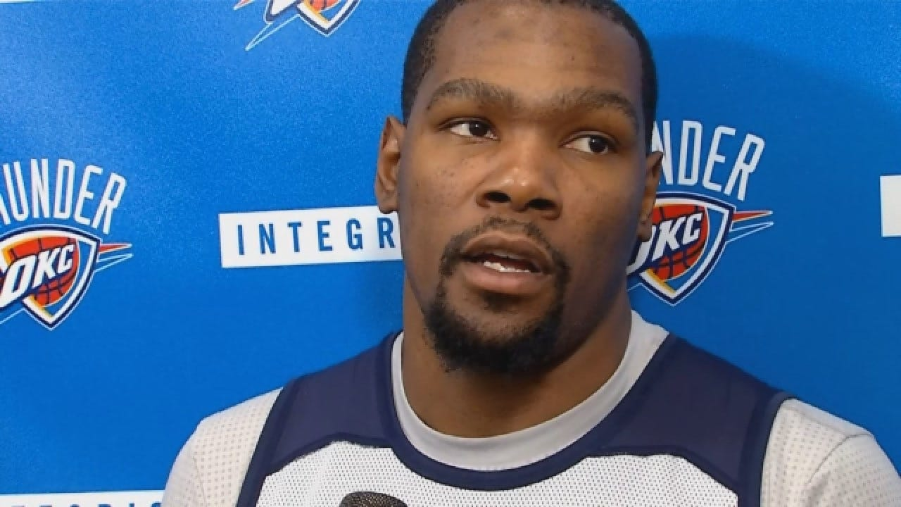 Kevin Durant Talks With Media Before Game 3