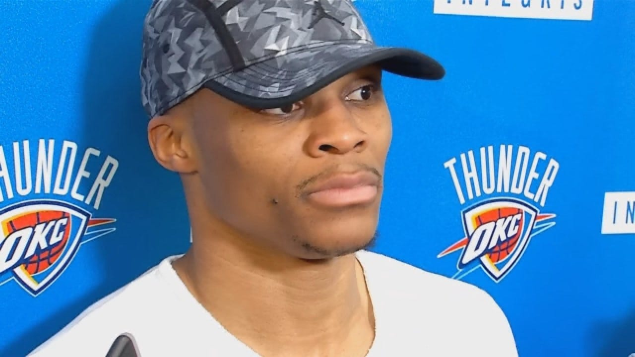 Russell Westbrook Talks After Saturday's Thunder Practice