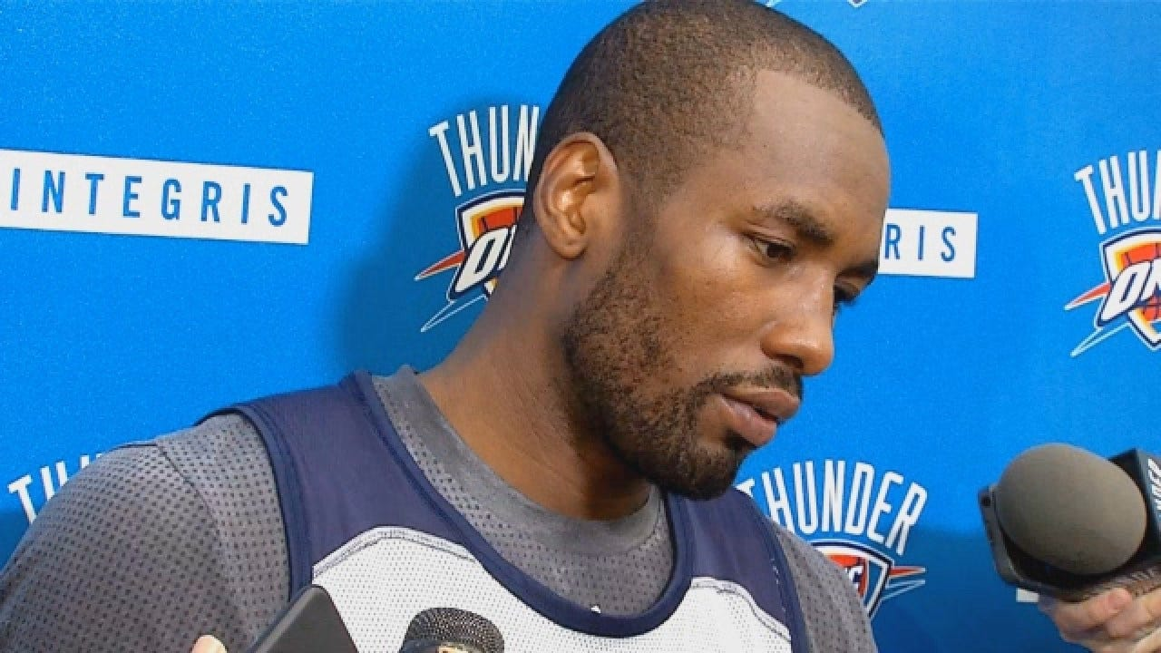 Serge Ibaka Talks With Reporters After Saturday's Practice