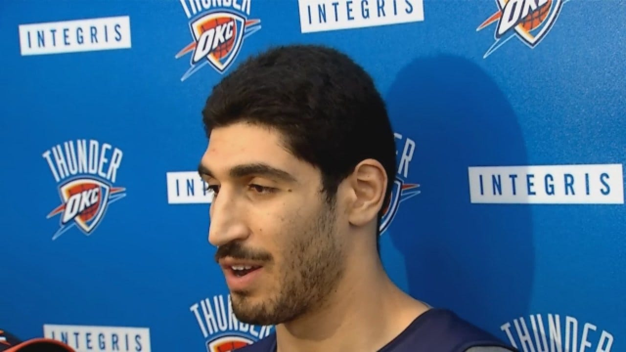 Enes Kanter Talks With Reporters After Sunday's Practice