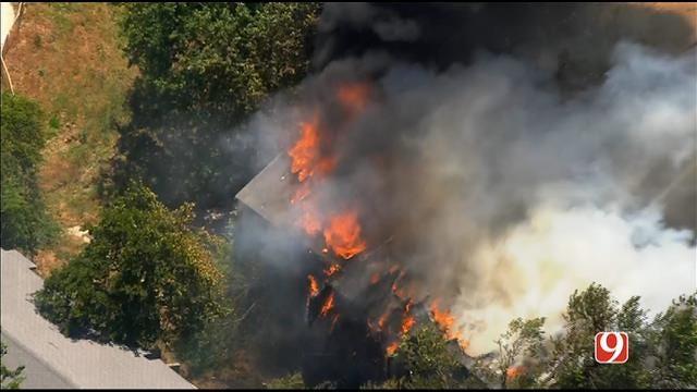 WEB EXTRA: Bob Mills SkyNews 9 Flies Over Fire At Vacant OKC Apartments