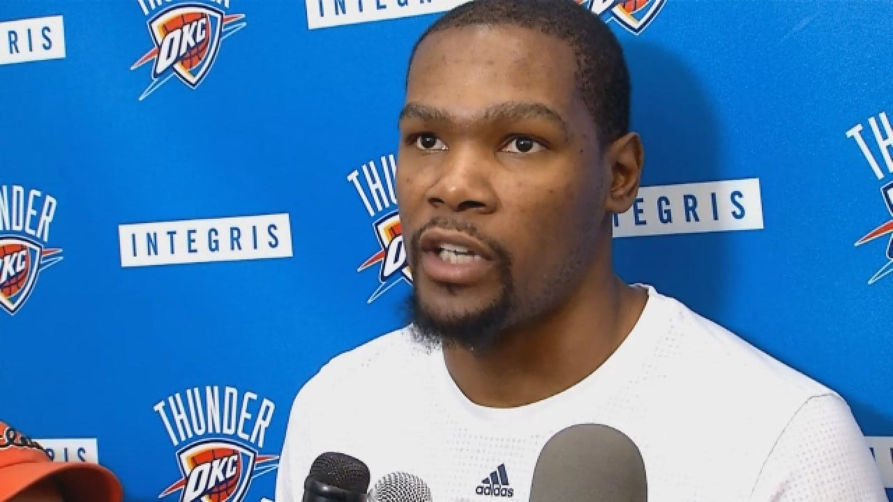 Kevin Durant Talks With Reporters At Saturday's Practice