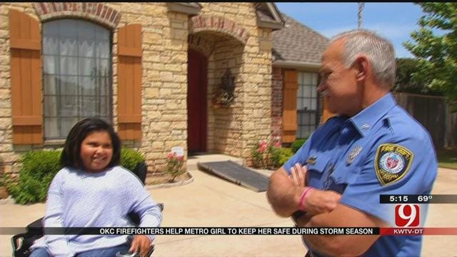 OKC Firefighters Help Girl in Wheelchair Build Storm Shelter Lift
