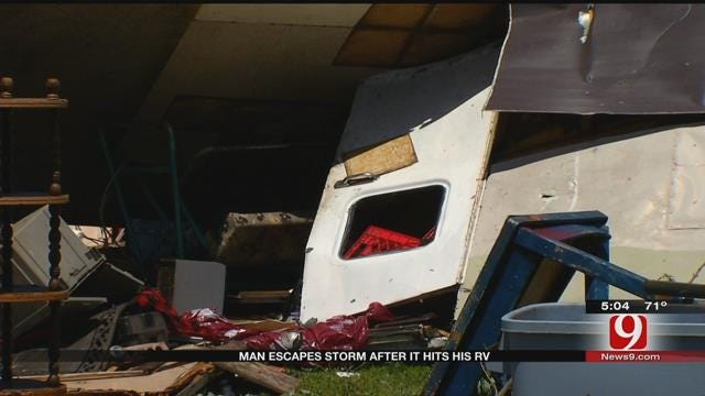 Man Injured After Storm Flipped His RV
