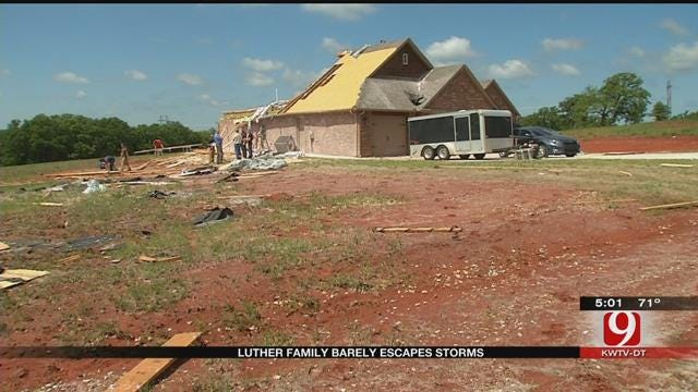 Luther Family Takes Cover Before Storm Damages Home