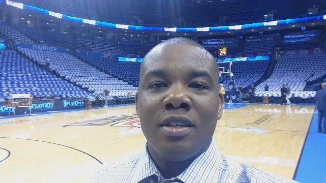 Westbrook Warms Up For Game 1 Against Mavericks