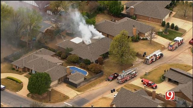 WEB EXTRA: SkyNews9 Flies Over House Fire In SW OKC
