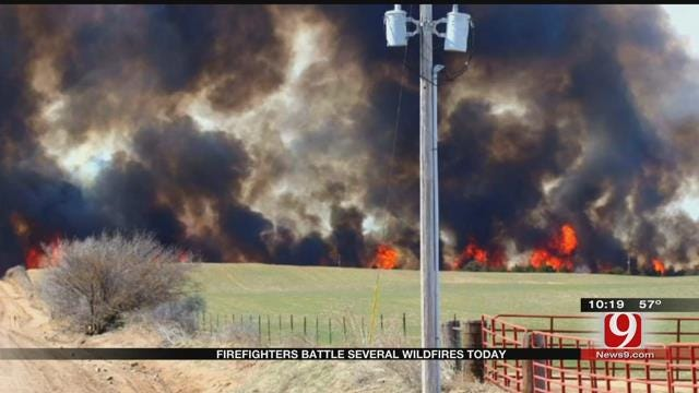 Firefighters Battled Several Wildfires Sunday