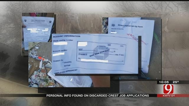 Personal Information Found On Discarded Crest Foods Job Applications