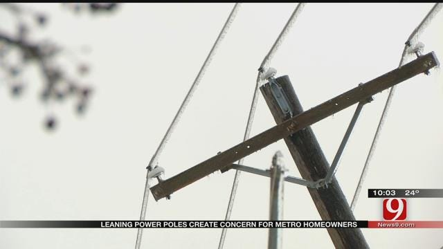 Leaning Power Poles Create Concern For Metro Homeowners