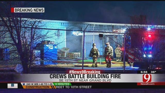 Crews Battle Fire At SE OKC Warehouse