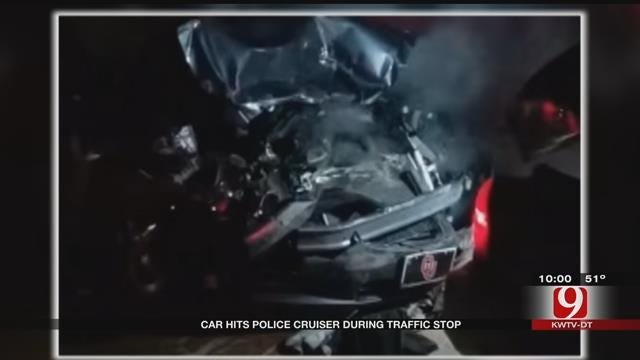 Vehicle Crashes Into Police Cruiser During Traffic Stop