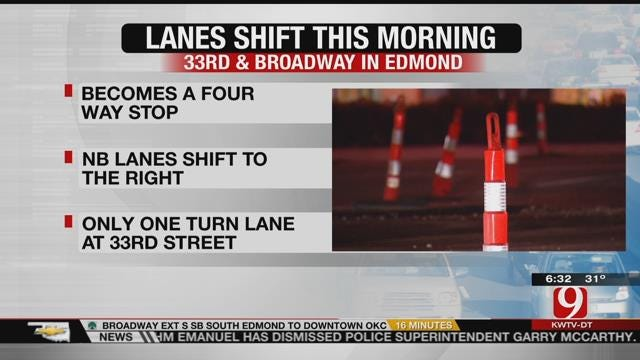 Edmond's Broadway, 33rd Intersection A 4-Way Stop Wednesday Morning