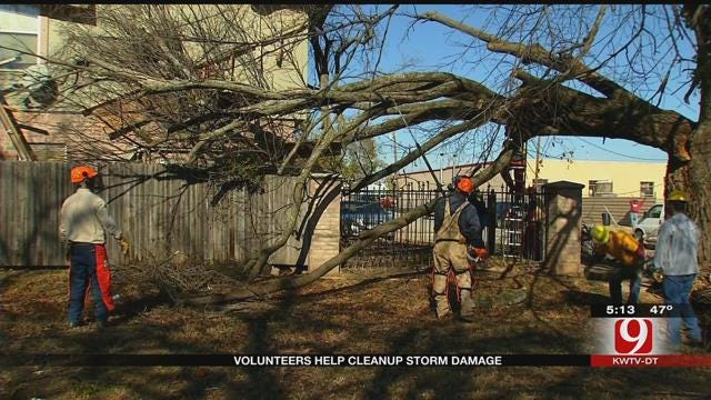 Volunteers Help Clean Up After Ice Storm