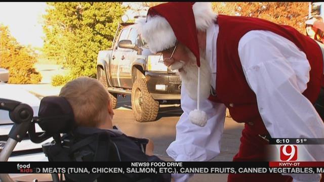 Santa Visits News 9 During 'Fill The Truck' Food Drive