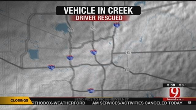 OKCFD: Vehicle Found Submerged In Creek, Driver Rescued