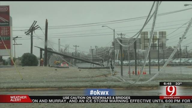 WEB EXTRA: Power Lines Crash Down In El Reno