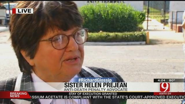 News 9's Kelly Ogle Speaks With Sister Helen Prejean About Glossip Stay