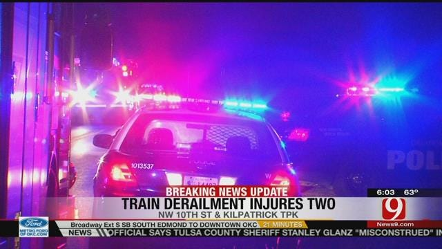 Two Injured After Train Derails In Oklahoma City