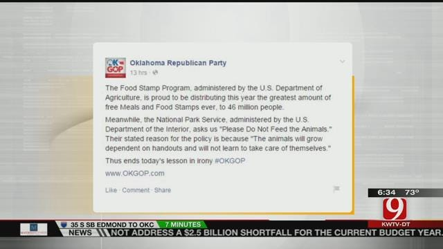Oklahoma Republican Party Compares Food Stamp Recipients To Animals In FB Post