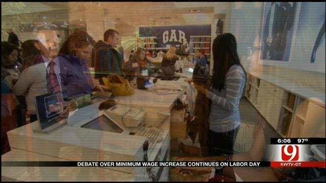 Debate Over Minimum Wage Increase Continues On Labor Day