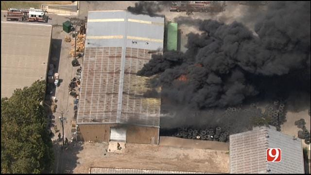 WEB EXTRA: Bob Mills SkyNews 9 HD Flies Over Tire Warehouse Fire