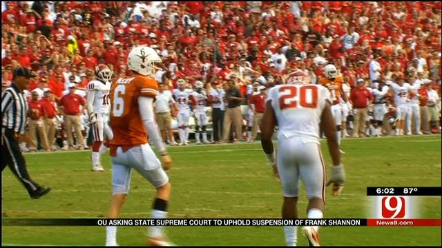 OU Asking State Supreme Court To Uphold Suspension Of Frank Shannon