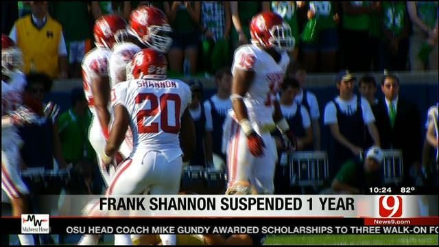 Shannon Suspended One Year By OU