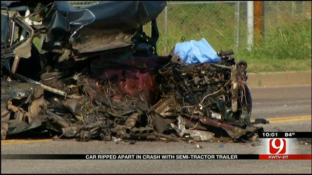 Car Ripped Apart After Crash With Semi In SW OKC