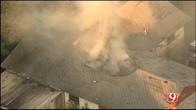 WEB EXTRA: Bob Mills SkyNews 9 HD Flies Over SE OKC House Fire