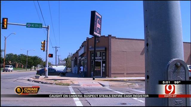 Caught On Camera: Suspect Steals Cash Register In NE OKC