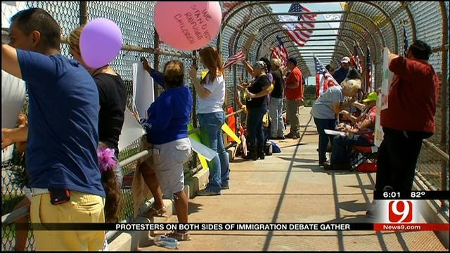 Immigration Demonstrators Rally In SW OKC