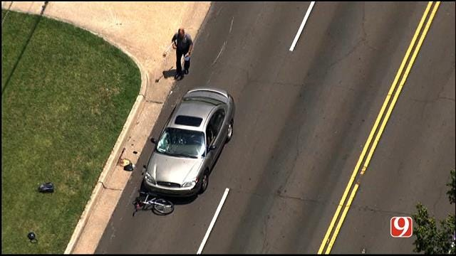 WEB EXTRA: Bob Mills SkyNews 9 HD Flies Over Scene Of Bicycle Accident In NW OKC