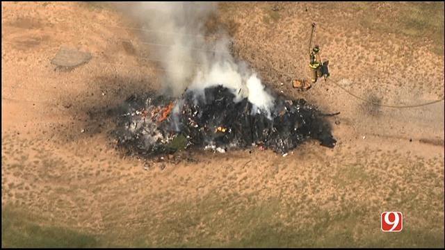WEB EXTRA: Bob Mills SkyNews 9 HD Flies Over Trash Truck Fire